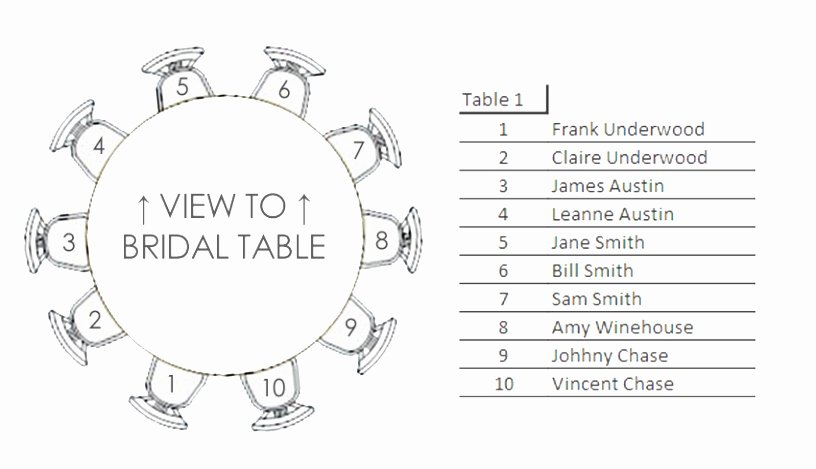 Round Table Seating 12 Template