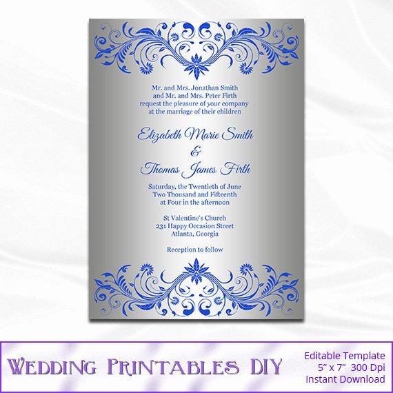 Royal Blue and Silver Wedding Invitation Template Diy