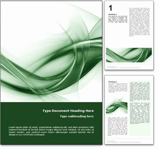 Royalty Free Abstract Curves Microsoft Word Template In Green