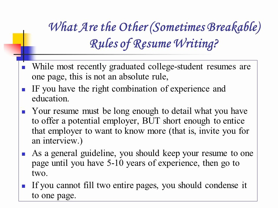 Rules for Resumes Resume Ideas