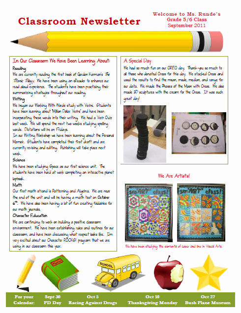 Runde S Room My New Classroom Newsletter
