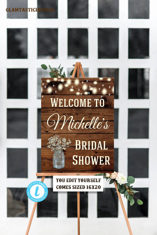 Rustic Bridal Shower Wel E Sign Template Flower Bridal