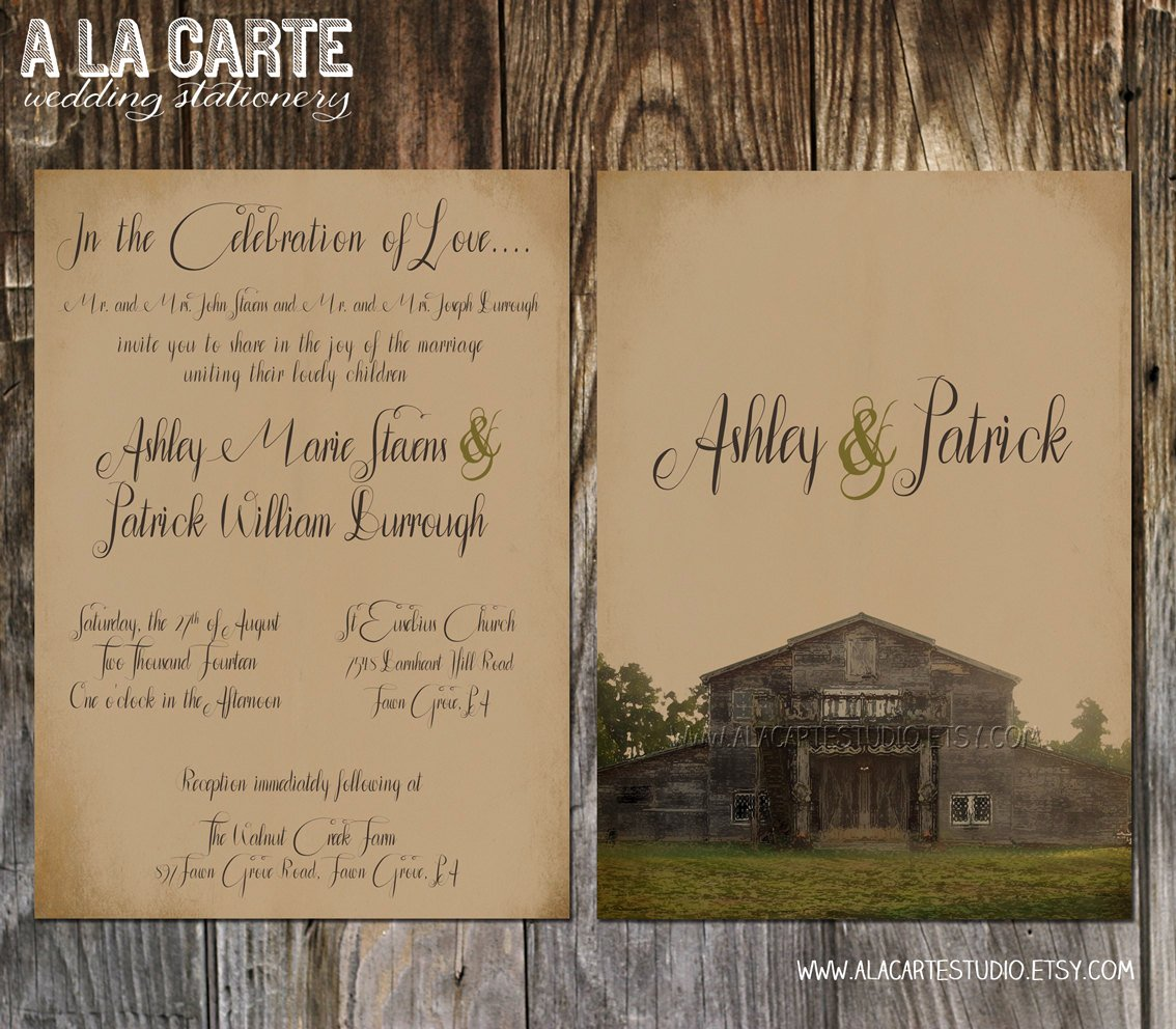 Rustic Country Wedding Invitations Template