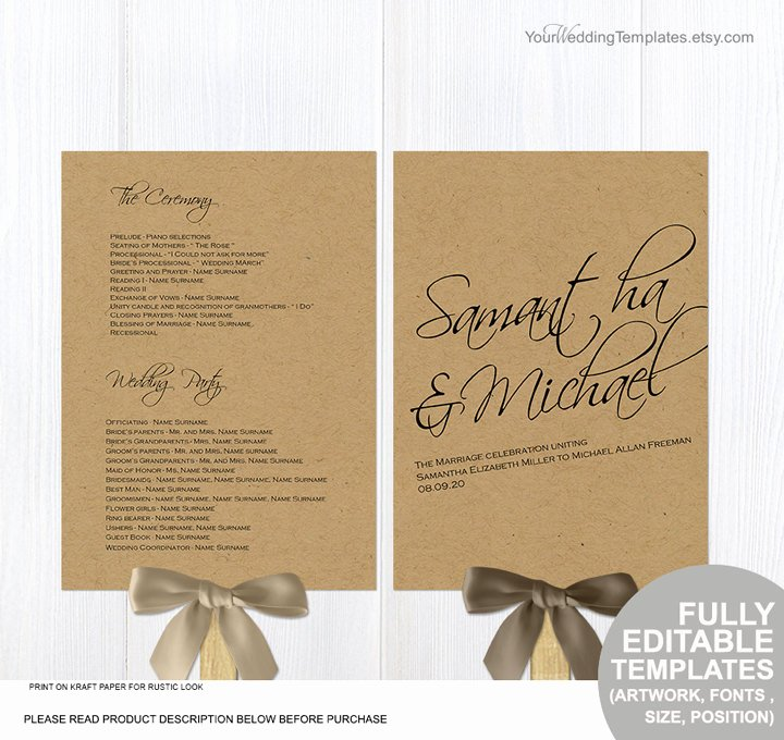 Rustic Diy Wedding Program Fans Template Printable Ceremony