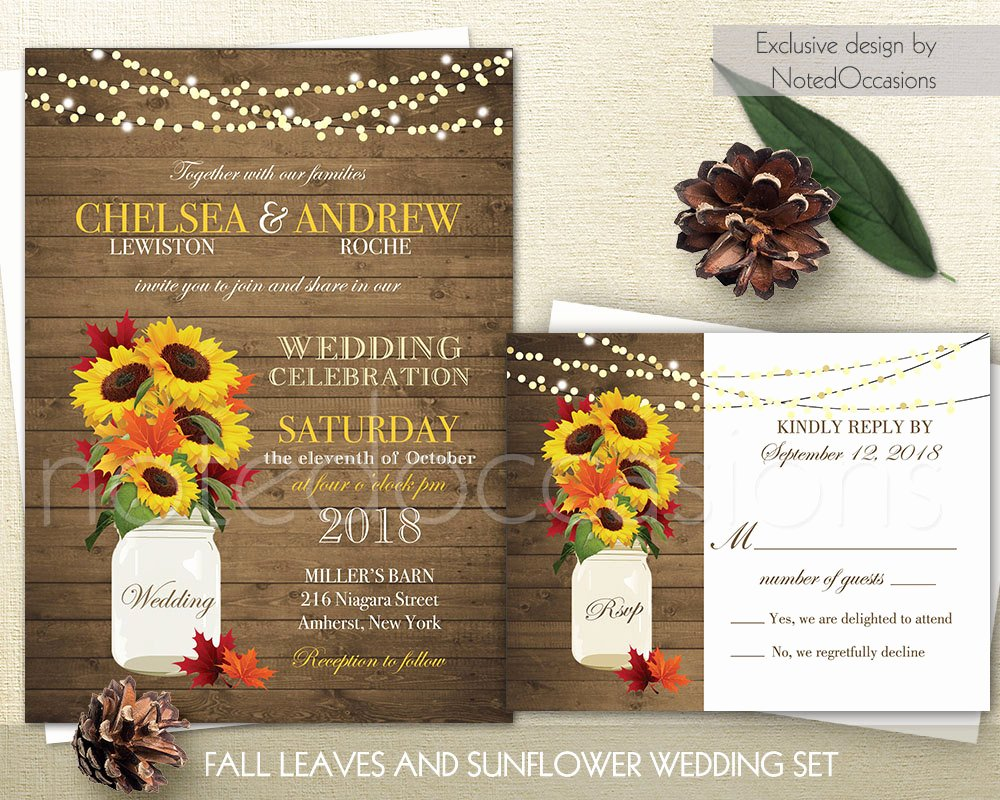 Rustic Fall Wedding Invitations Suite Fall Leaves Sunflowers