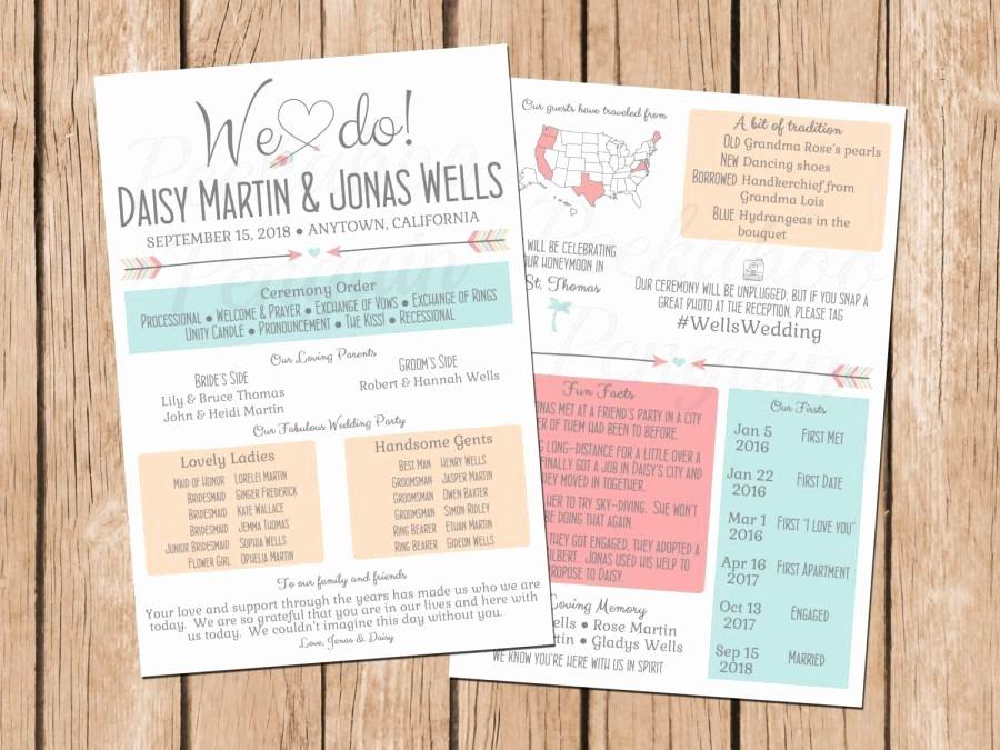 Rustic Infographic Wedding Program Boho Wedding Program