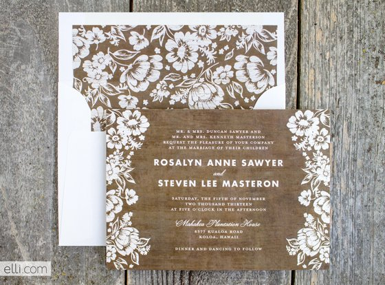 Rustic Lace Wedding Invitations Template