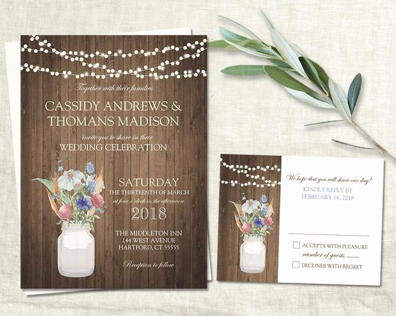 Rustic Mason Jar Wedding Invitation Set Printable Mason Jar