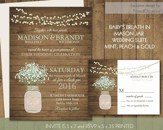 Rustic Mason Jar Wedding Invitation Suite Rustic Country