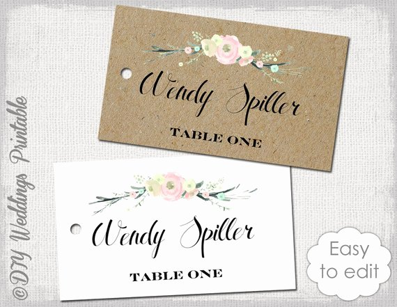 Rustic Name Card Template Rustic Flowers by