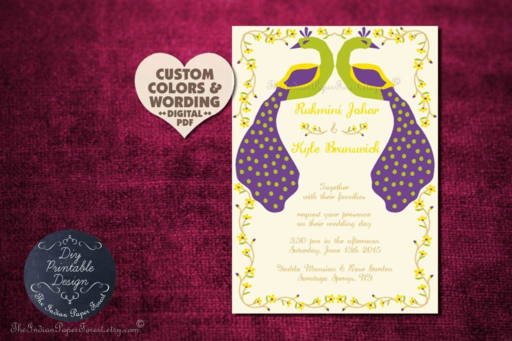 Rustic Peacock Wedding Invitation Program Cover Diy Printable
