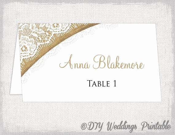Rustic Place Cards Template Burlap & Lace Diy