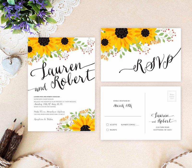 Rustic Sunflower Wedding Invitations Lemonwedding