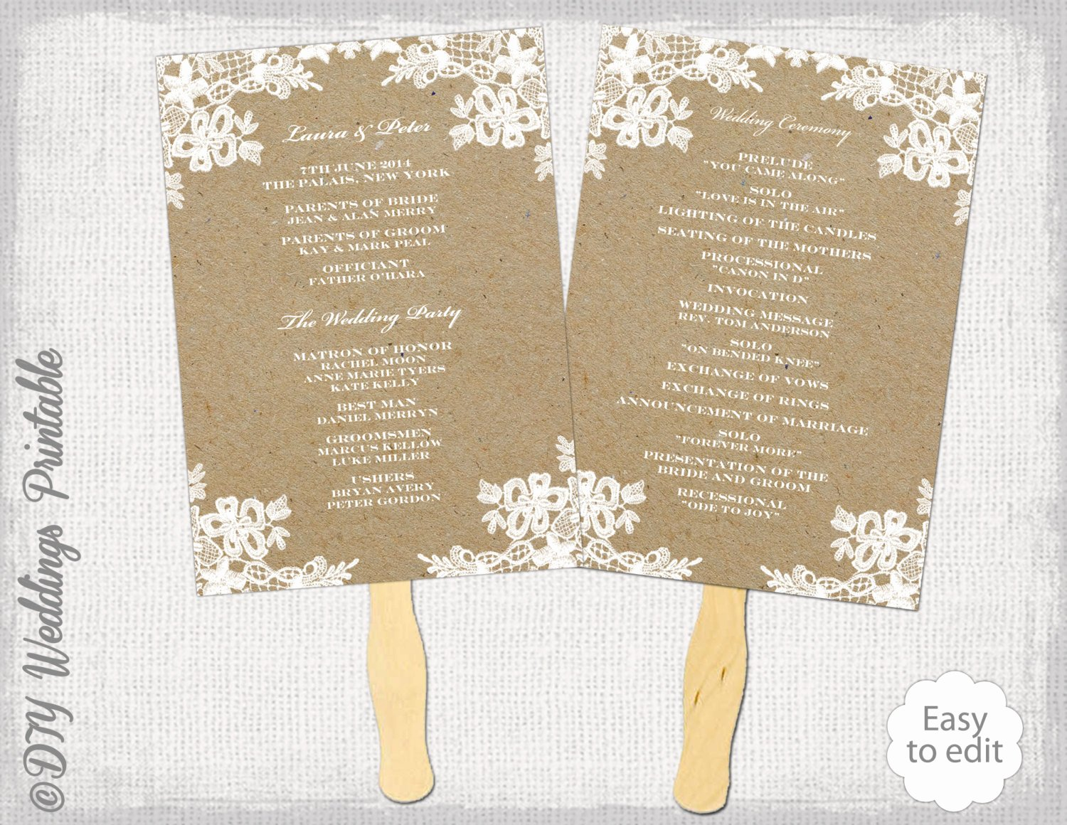 Rustic Wedding Fan Program Template Rustic Lace