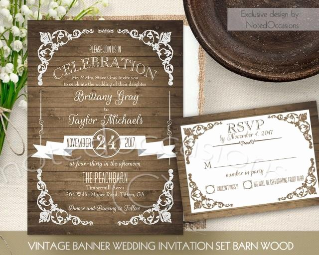 Rustic Wedding Invitation Printable Set Country Wedding