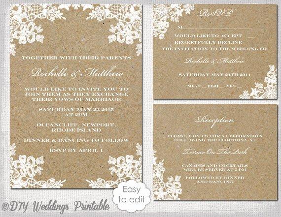 "Rustic Wedding Invitation Set Diy ""rustic Lace"" Printable"