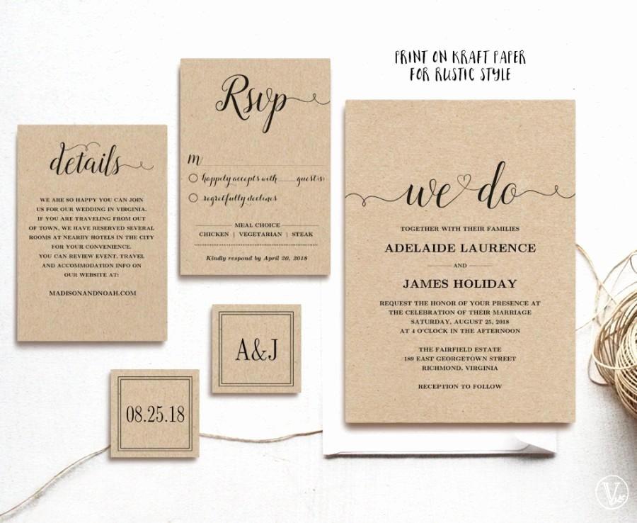 Rustic Wedding Invitation Template 5 Piece Printable
