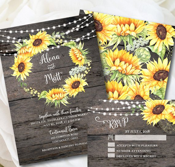Rustic Wedding Invitation Template Sunflower Invitation