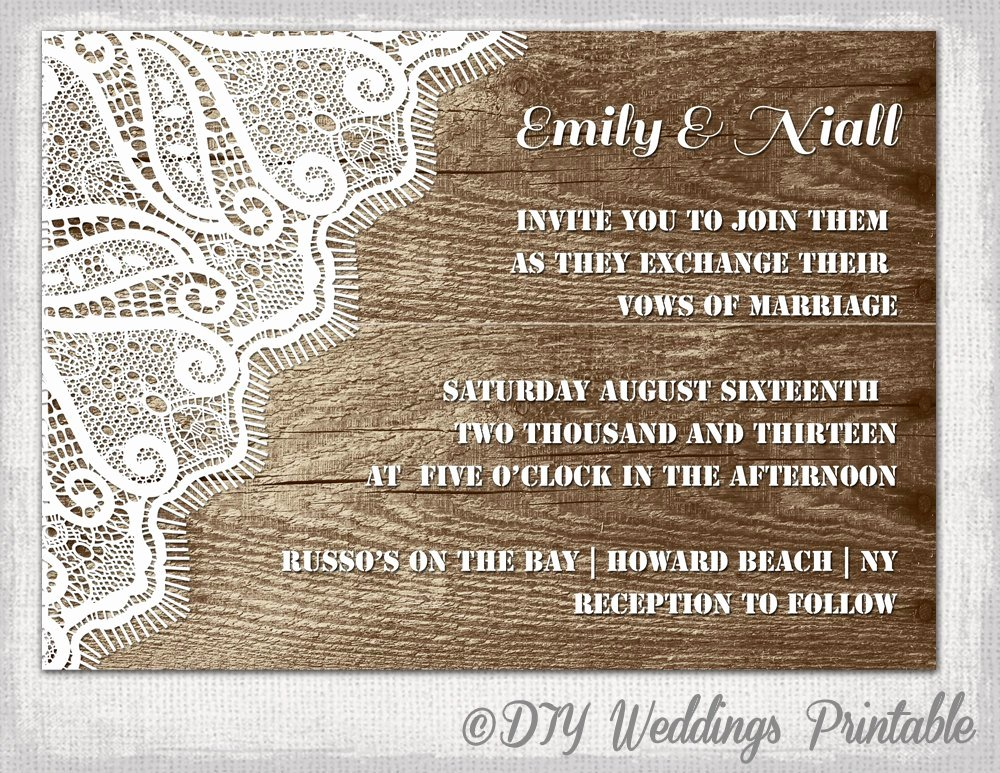 Rustic Wedding Invitation Template Wood & Lace