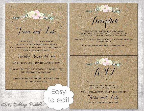 "Rustic Wedding Invitation Templates Diy ""rustic Flowers"