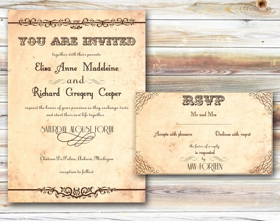 Rustic Wedding Invites Template
