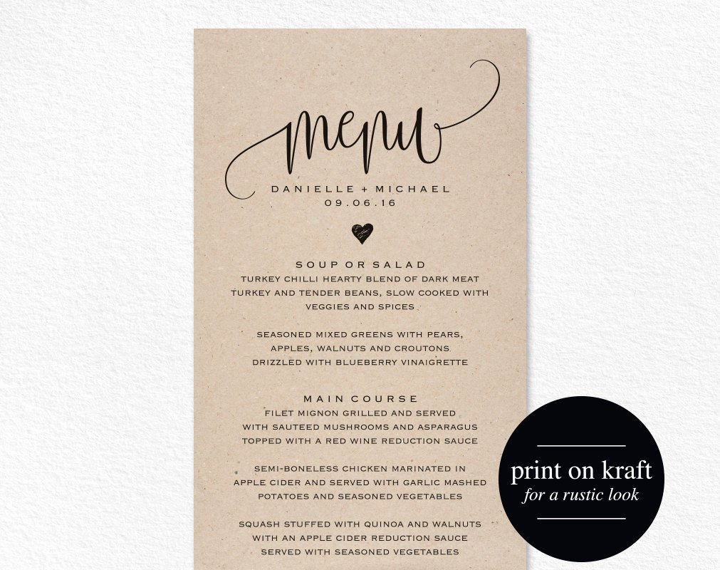 rustic wedding menu wedding menu