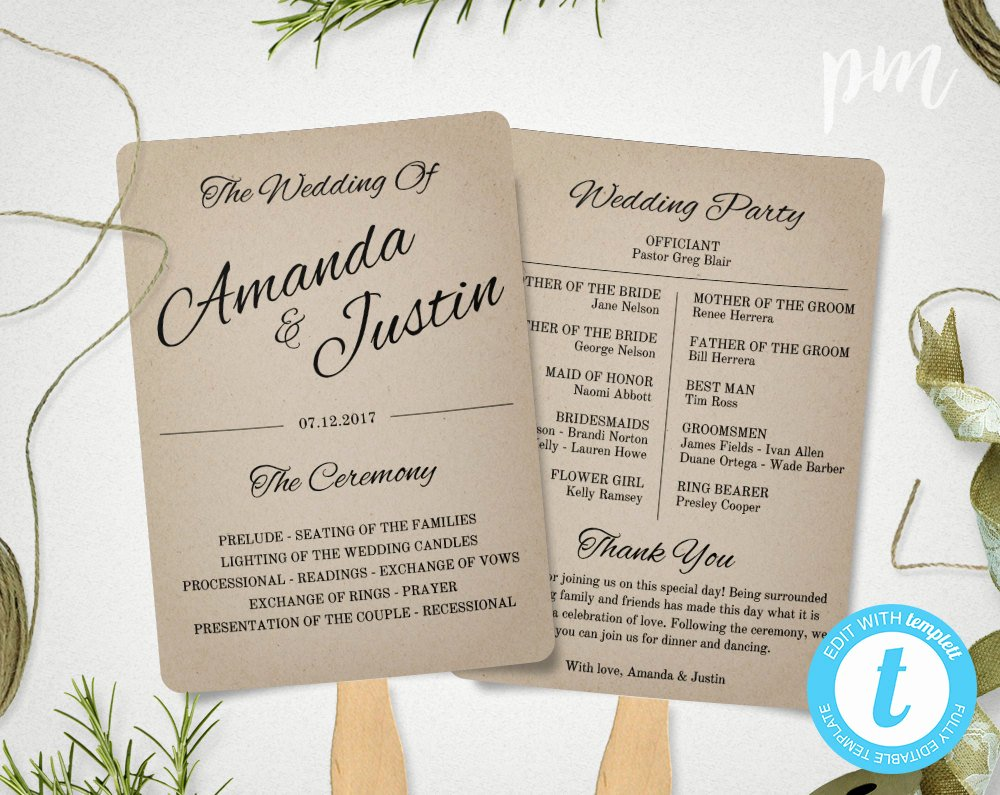Rustic Wedding Program Fan Template Fan Wedding Program