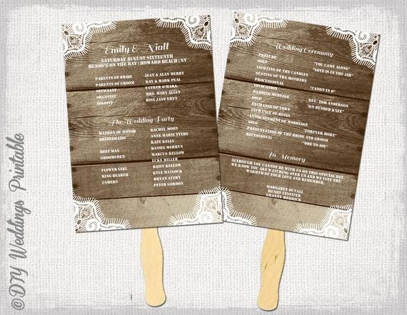 Rustic Wedding Program Template Fan Wedding Programs