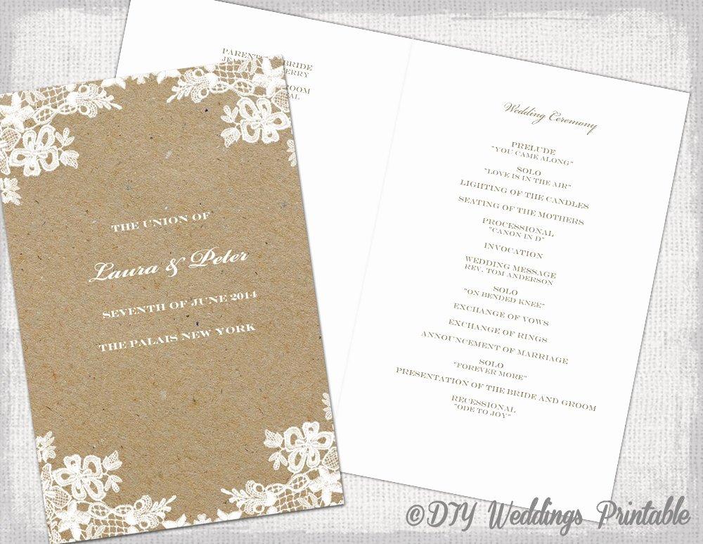Rustic Wedding Program Template Printable Program Rustic