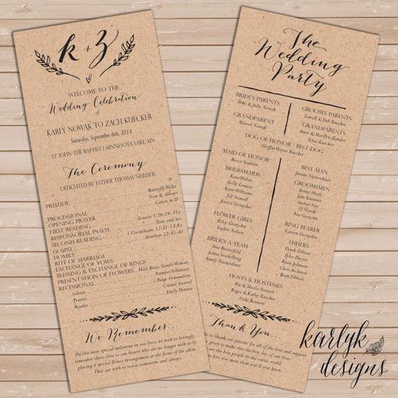 Rustic Wedding Program Template Rustic Wedding Programs