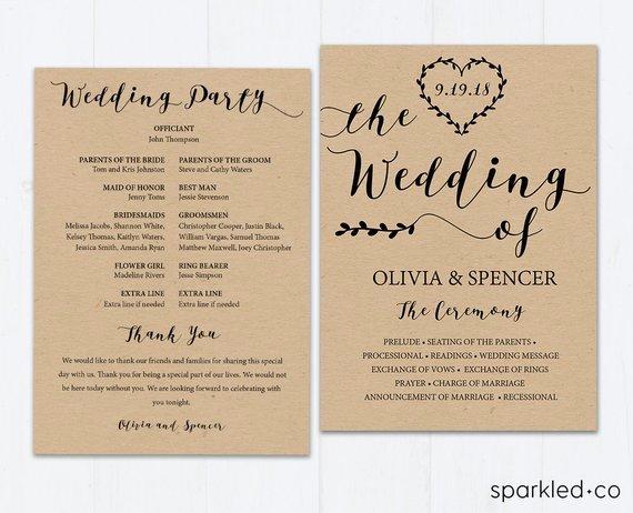 Rustic Wedding Program Template Rustic Weddingprogram