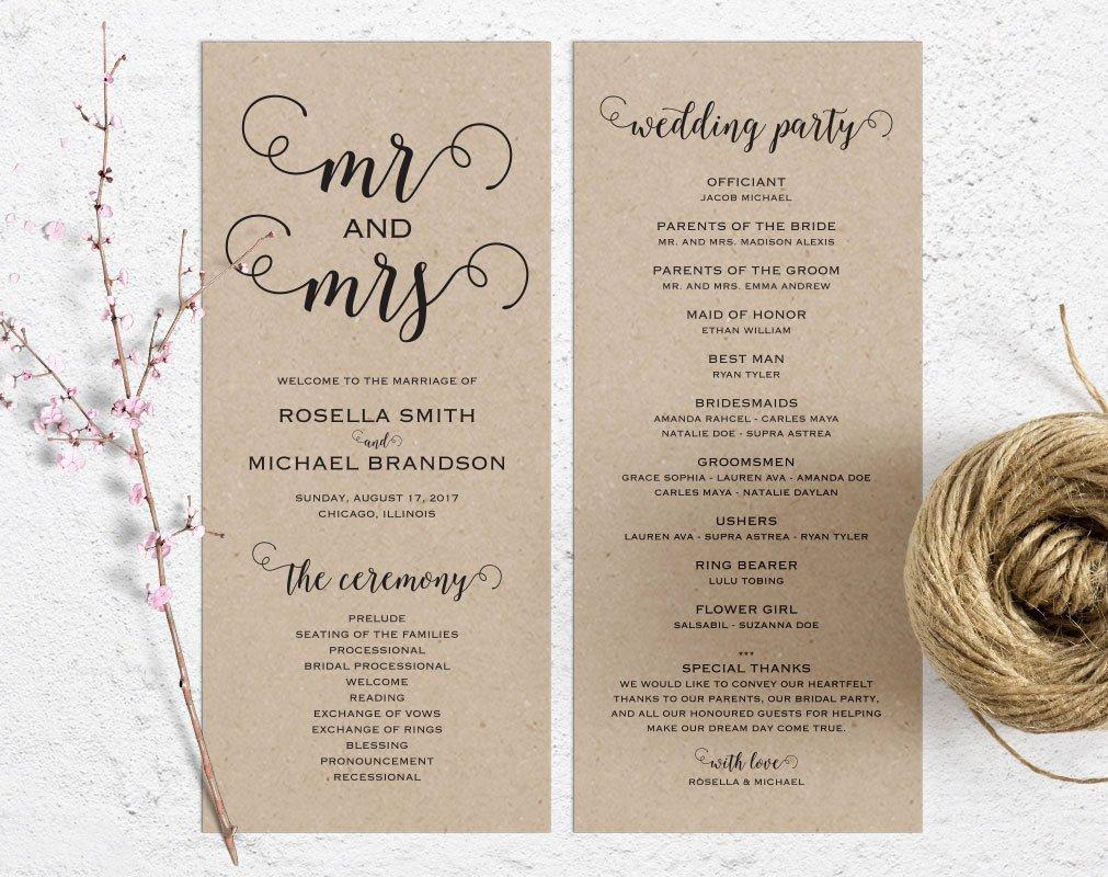 Rustic Wedding Program Template Wedding Ceremony Program