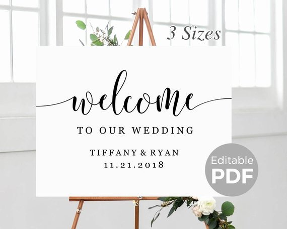 Rustic Wel E Sign Template for Wedding Printable Modern