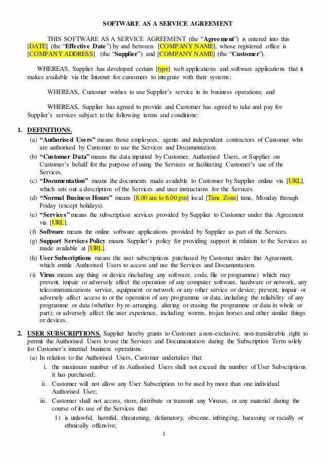 Saas Agreement Sample
