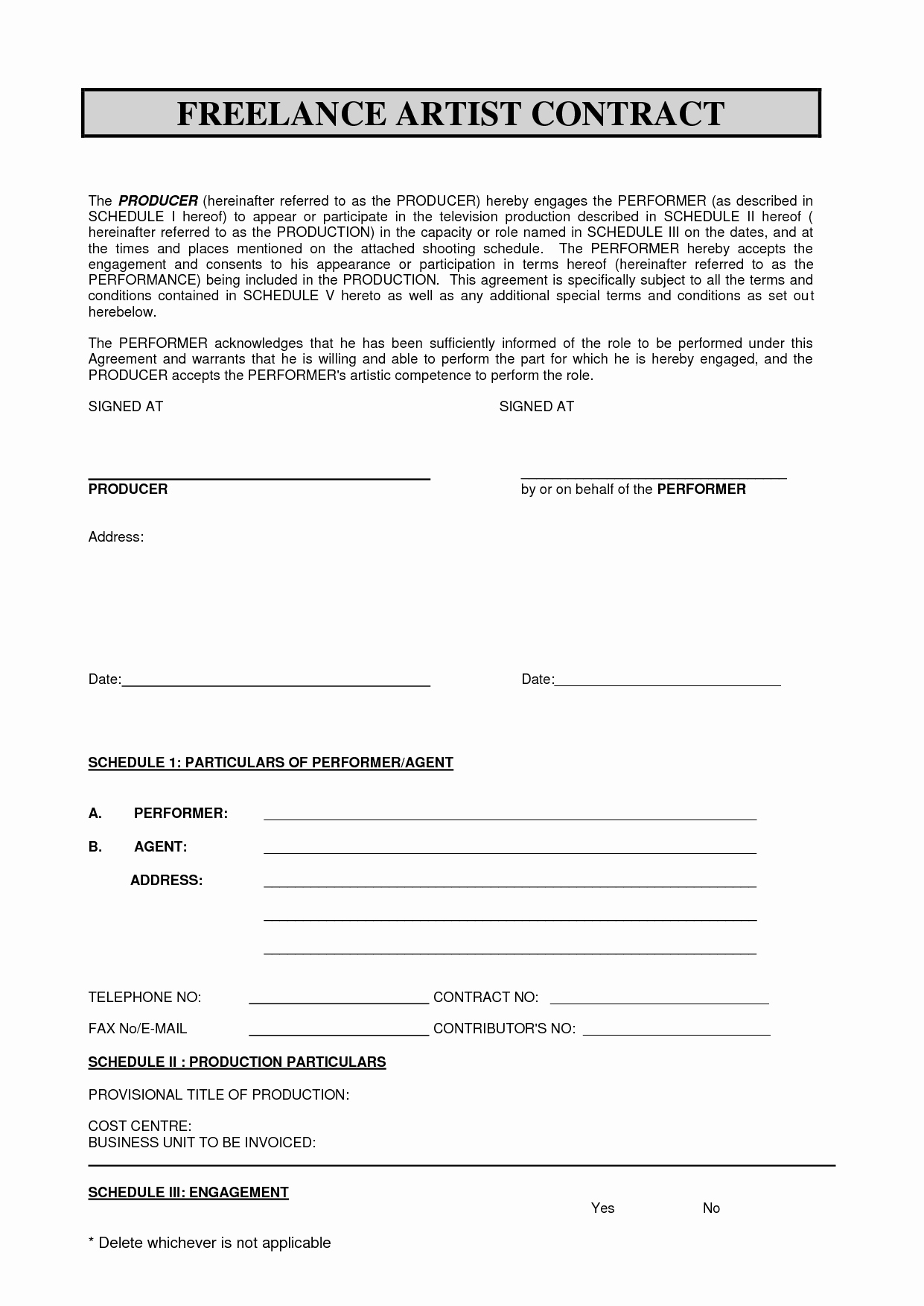Sabc Contract 2010 Pdf Freelance Artist Contract by