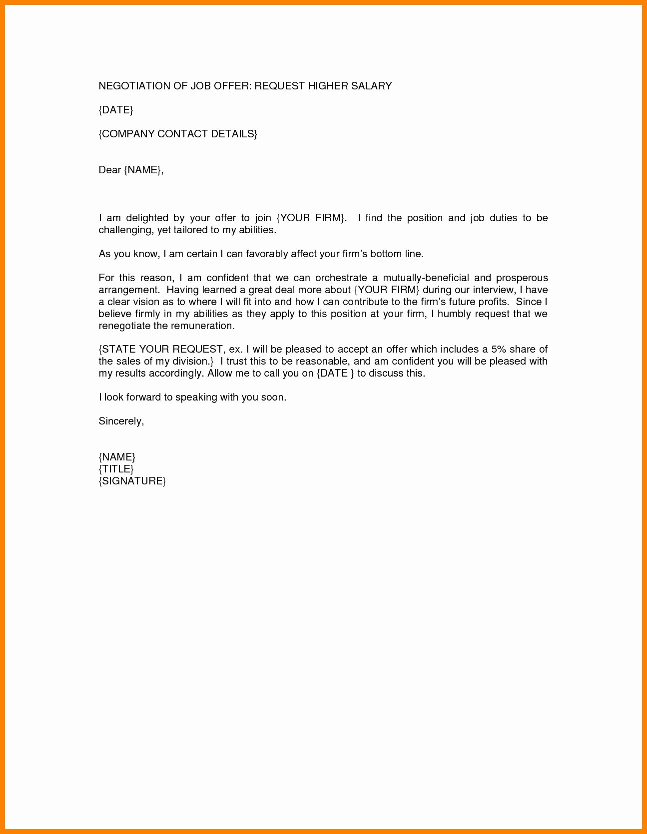 Salary Negotiation Email Sample New Representation Example