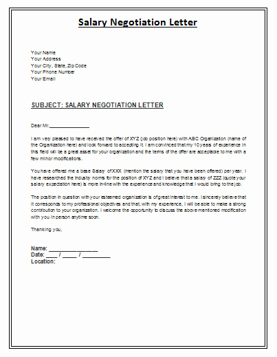 Salary Negotiation Letter is A formal Archive Posed by