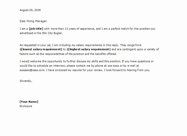 Salary Requirements Cover Letter Letter Of Re Mendation