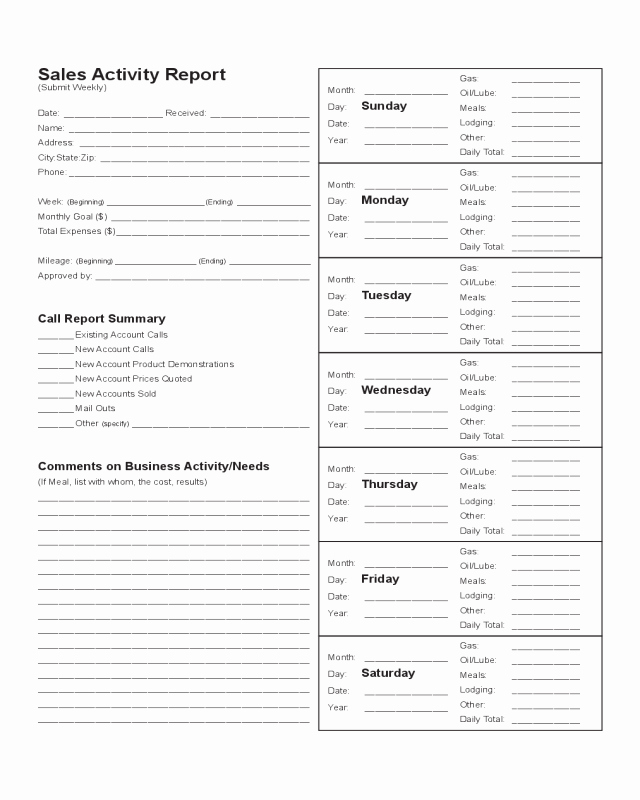 Sales Activity Report Template Edit Fill Sign Line