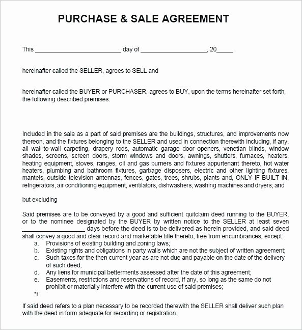 Sales Agreement Example Simple Buy Sell form Real Estate