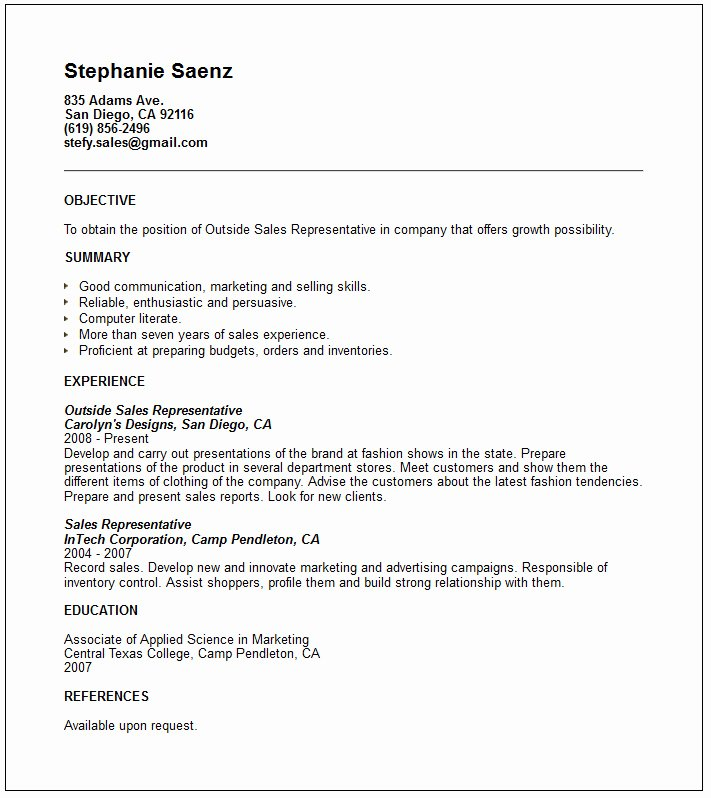 Sales & Marketing Resume Examples