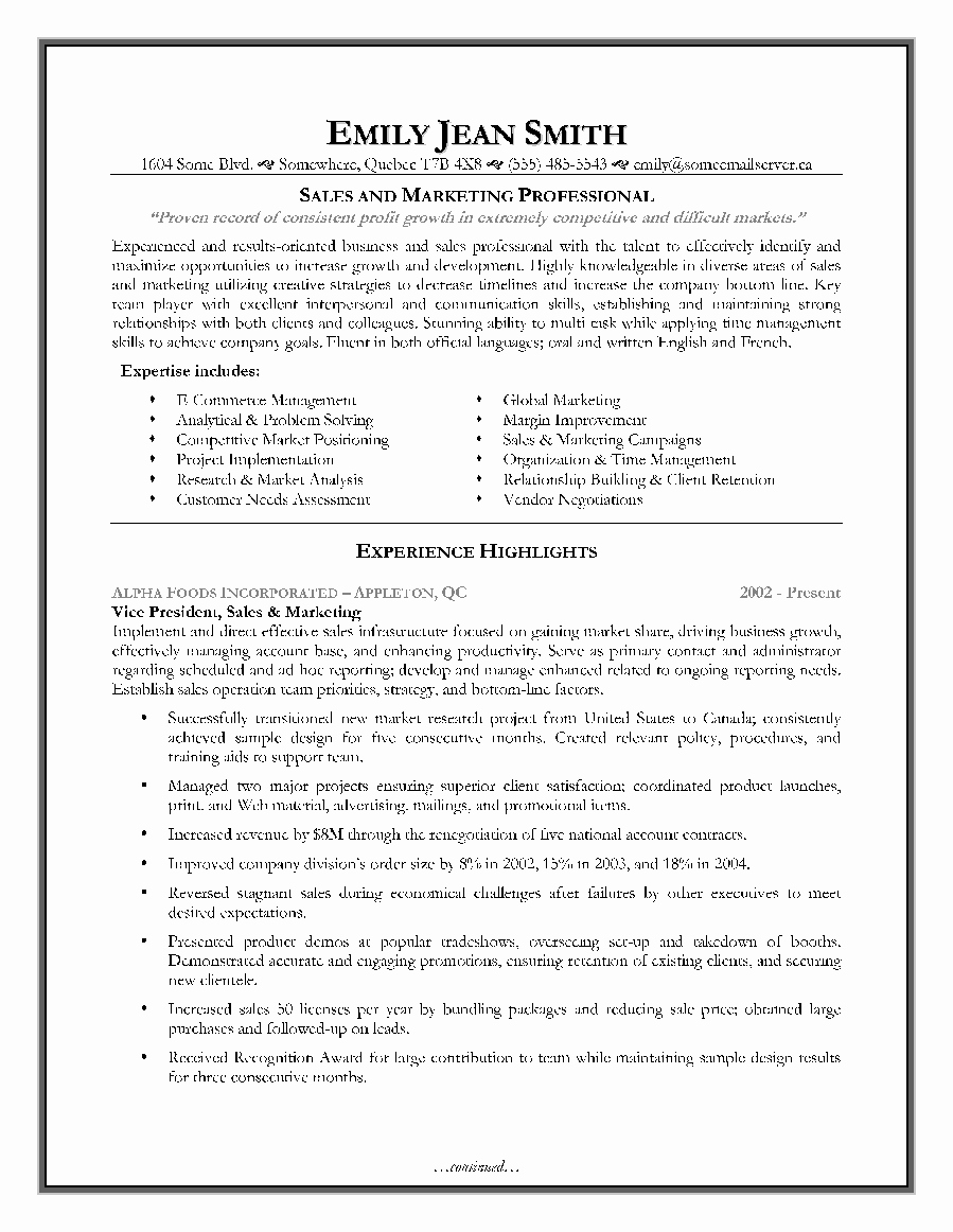 Sales and Marketing Resume Sample Page 1