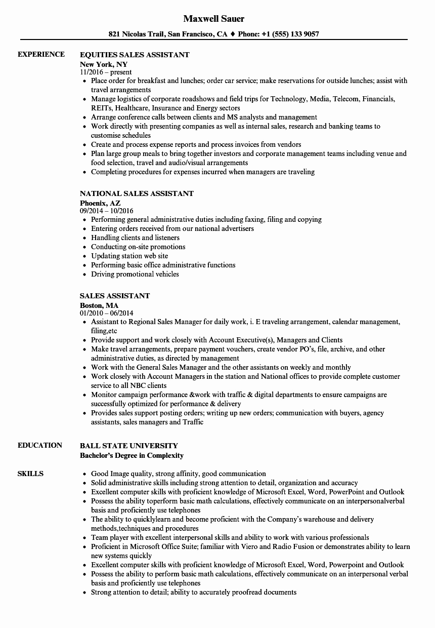 Sales assistant Resume Samples