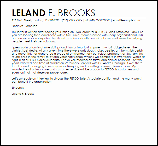 Sales associate Cover Letter Examples Cover Letter