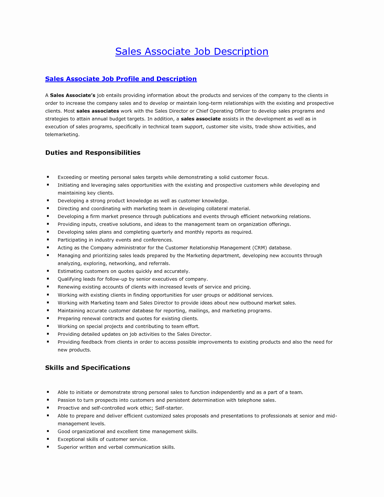 Sales associate Job Descriptions for Resume