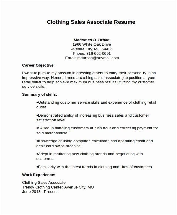 sales associate job resume
