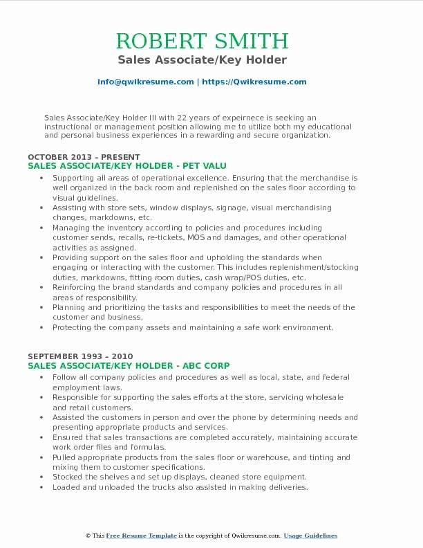 Sales associate Key Holder Resume Samples