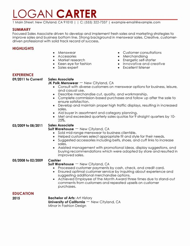Sales associate Level Resume Examples – Free to Try today