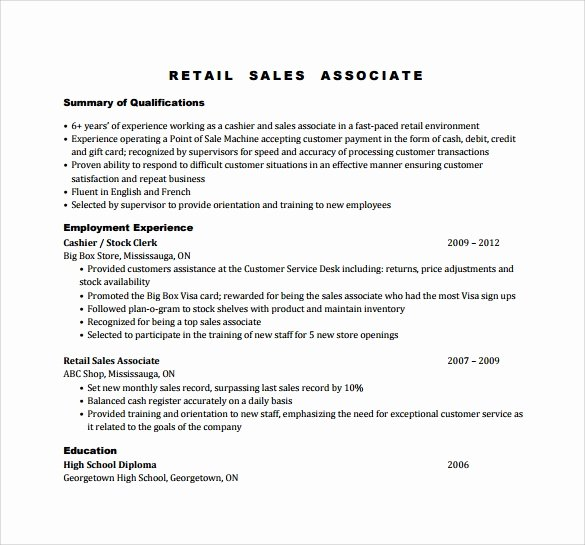 Sales associate Resume
