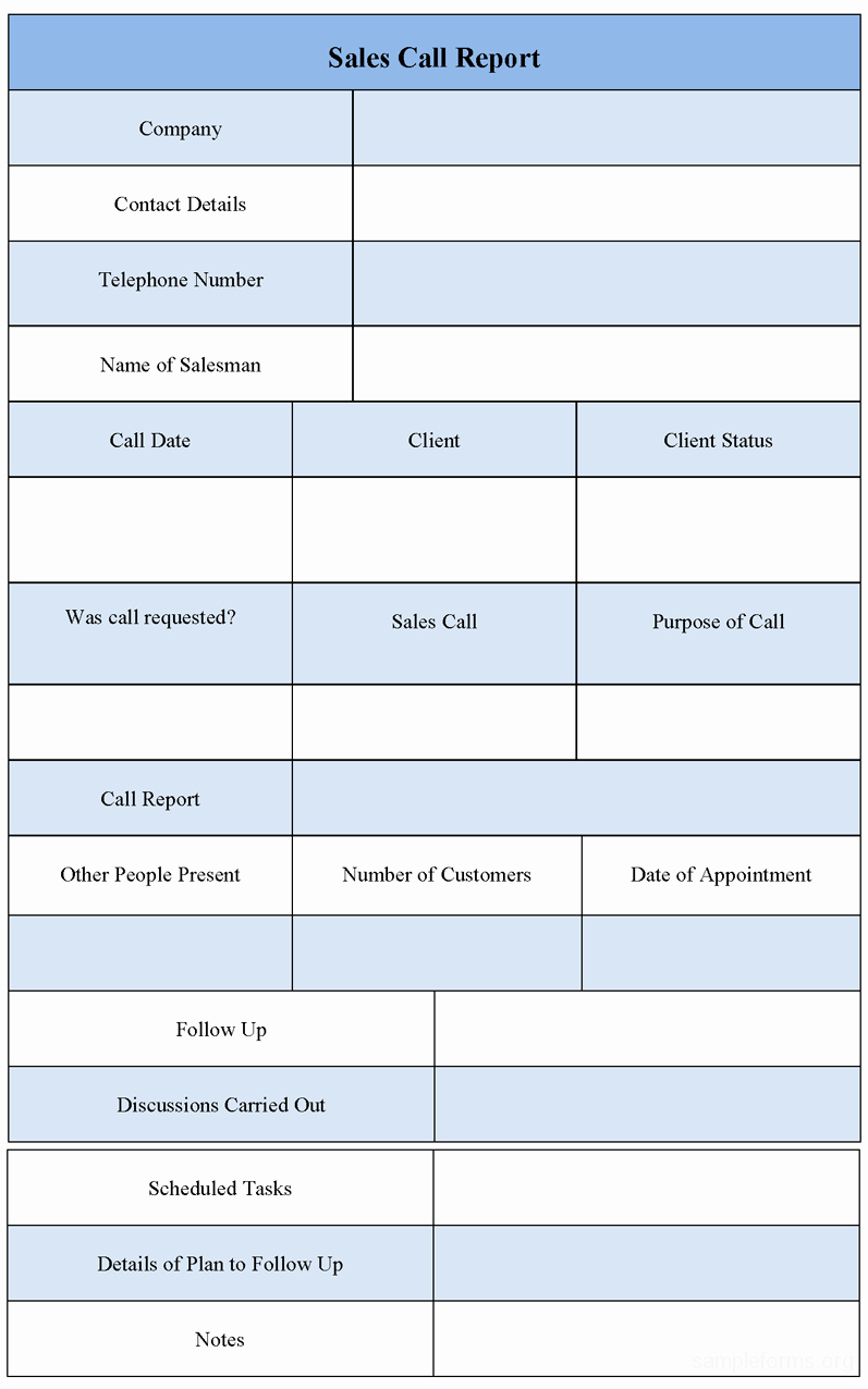 Sales Call Report form Sample forms